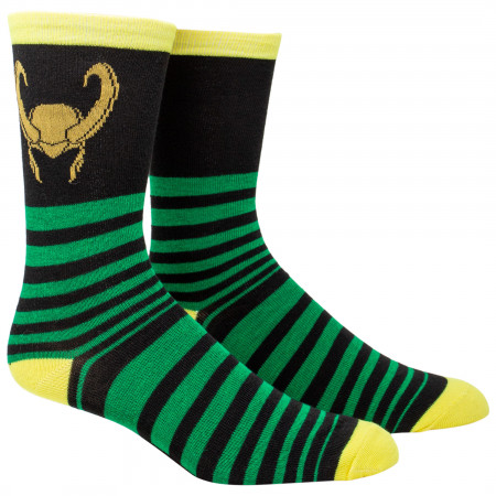 Loki Helmet Striped Crew Socks