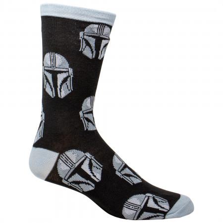 Star Wars The Mandalorian Helmet All Over Print Crew Socks