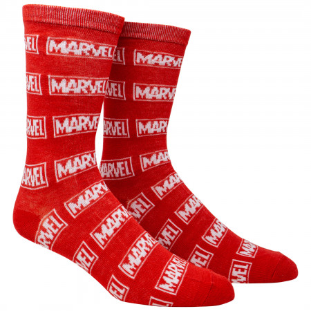 Marvel Brand Logo All Over Crew Socks