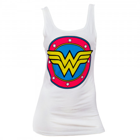 Wonder Women Comic Logo White Womens Tank Top