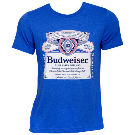 Budweiser Beer Patriotic Label Blue T-Shirt