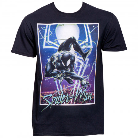Marvel Spider-Man Symbiote Suit Swinging over the City T-Shirt