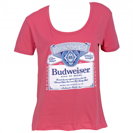 Budweiser Beer Label Women's Swoop Neck T-Shirt