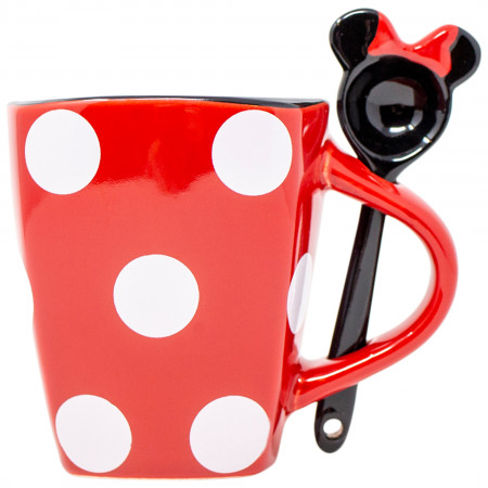 Disney Minnie Mouse Dress Polka Dots 11oz Mug With Spoon