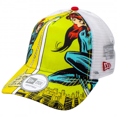 Black Widow Comic Scene Sublimated New Era Adjustable Trucker Hat