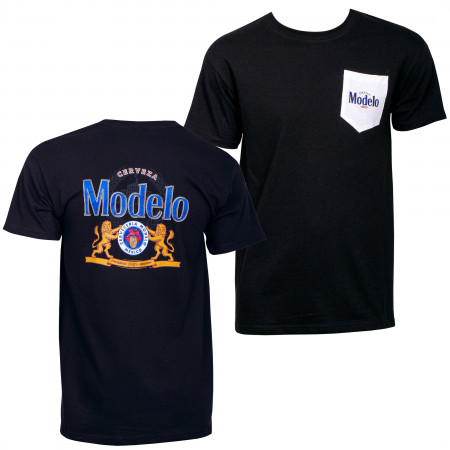 Modelo Cerveza Front and Back Print Pocket T-Shirt