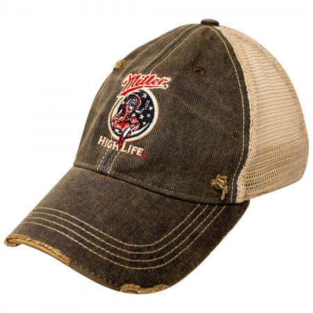 Miller High Life Girl In The Moon Black Adjustable Mesh Trucker Hat