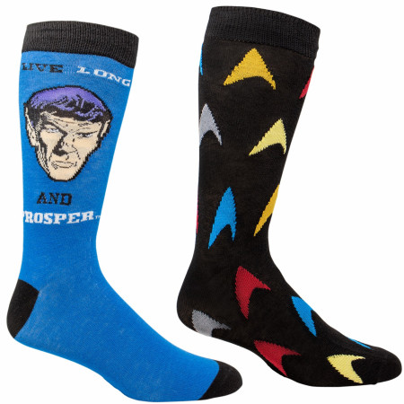 Star Trek Spock Live Long and Prosper and Logo 2-Pair Pack of Casual Crew Socks