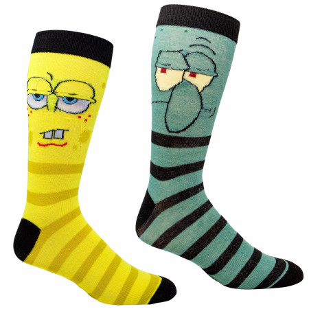 SpongeBob SquarePants and Squidward 2-Pair Pack Casual Crew Socks