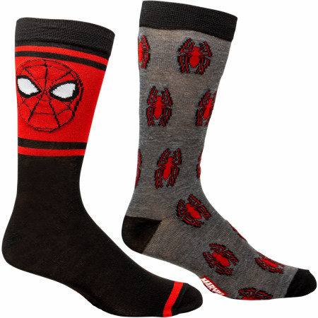 Spider-Man Face and Spider Symbol 2-Pair Pack of Casual Crew Socks