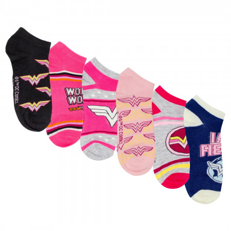 DC Comics Wonder Woman Assorted Women's 6-Pack Shorties Socks