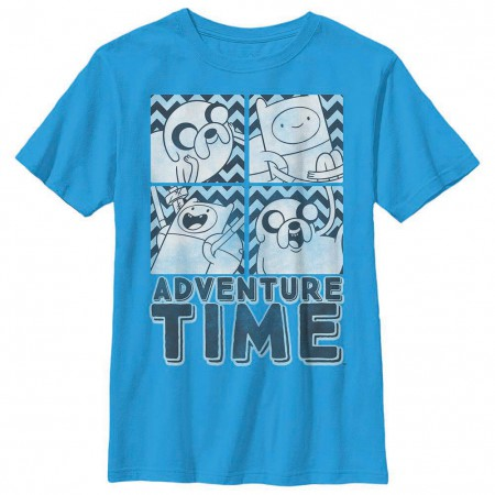 Adventure Time Finn and Jake Box Blue Youth T-Shirt