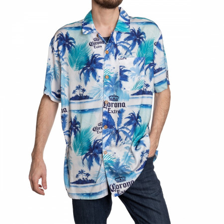 Corona Extra Beer Blue Palm Island Hawaiian Shirt
