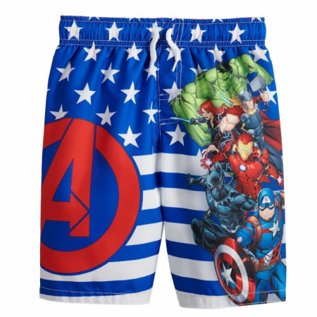 Marvel Avengers Symbol and Team Youth Swim Trunks