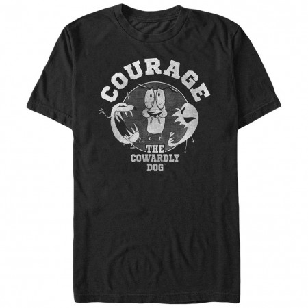 Courage the Cowardly Dog Courage Badge Black T-Shirt