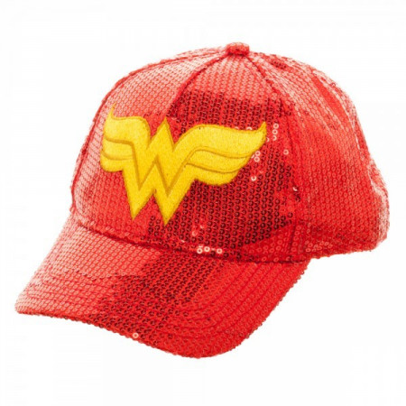 DC Comics Youth Girls Wonder Woman Red Sequin Adjustable Baseball Hat