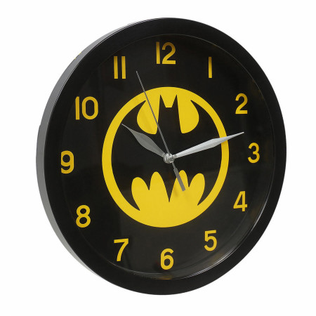 Batman Black on Yellow Symbol Wall Clock