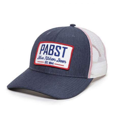 Pabst Blue Ribbon Beer Est. 1844 Logo Patch Trucker Mesh Snapback Hat
