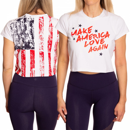 Make America Love Again Faded Flag Women's Crop Top