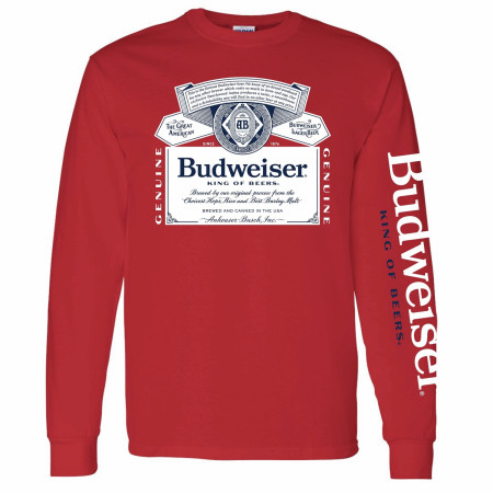 Budweiser Beer Sleeve Print Long Sleeve Shirt