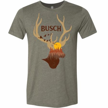 Busch Beer Deer Horns Sunset Military Green T-Shirt