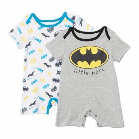 Batman Little Hero and Symbols Infant 2-Pack Romper Bodysuit Set