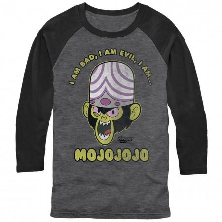 Power Puff Girls Evil Mojojojo Monkey Gray Baseball T-Shirt