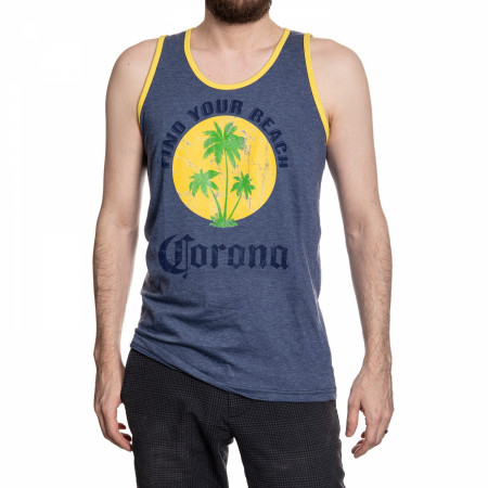 Corona Extra Find Your Beach Faded Blue Tank Top