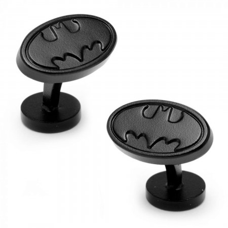Batman Satin Black  Logo Cufflinks