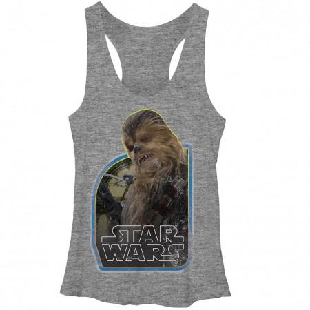 Star Wars Episode 7 The Wookie Gray Juniors Racerback Tank Top