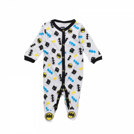 Batman Symbols and Mask All Over Print Infant Snapsuit
