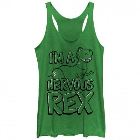 Disney Pixar Toy Story 1-3 Nervous Rex Green Juniors Racerback Tank Top