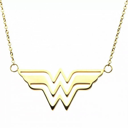 DC Comics Wonder Woman Symbol Gold Colored Stainless Steel Necklace