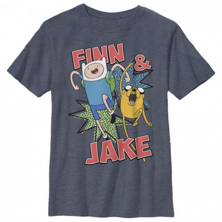 Adventure Time Finn and Jake Blue Youth T-Shirt