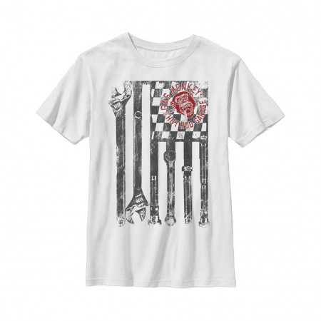 Gas Monkey Garage Wrench Flag White Youth T-Shirt