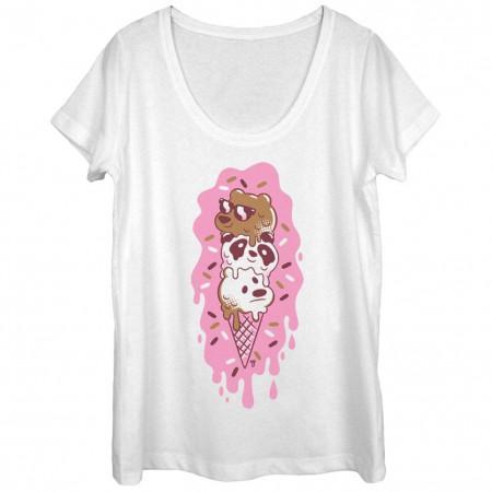We Bare Bears Pink Ice Cream White T-Shirt
