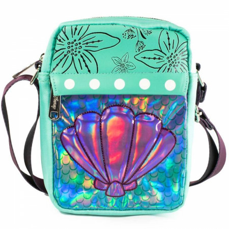 Disney Little Mermaid Iridescent Shell Crossbody Vegan Leather Bag