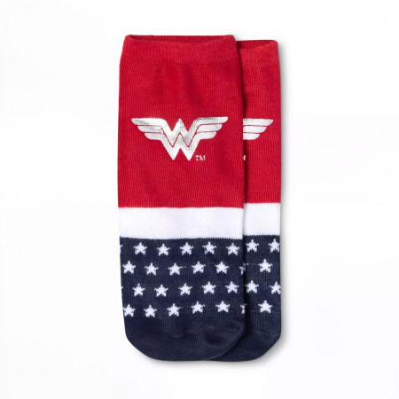 Wonder Woman Symbol with Silver Foil Women's Shorty Sock