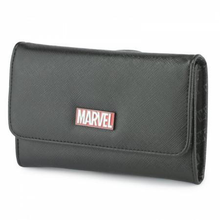 Marvel Brand Metal Emblem Fold Over Saffiano Wallet