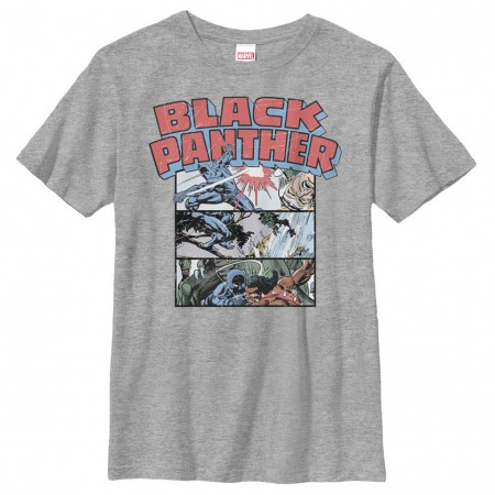 Black Panther Collage Gray Youth T-Shirt