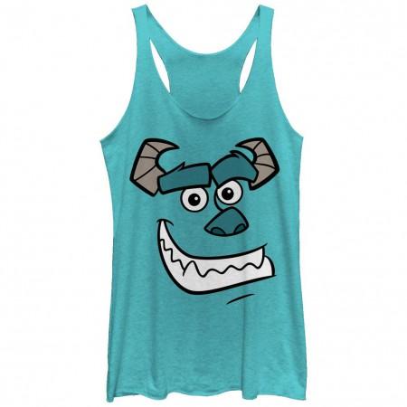 Disney Pixar Monsters Inc University Sullys Face Blue Juniors Racerback Tank Top