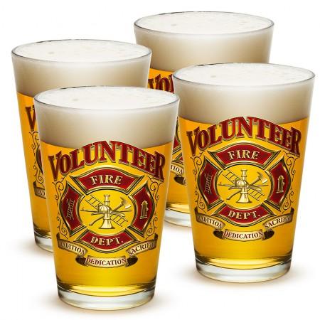 Set Of Four Volunteer Firefighter Beer Pints