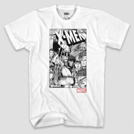Marvel X-Men Comic Graphic Monotone T-Shirt With Slashes Back Print