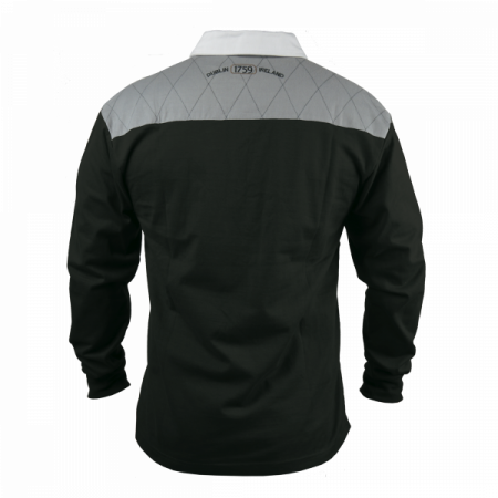 Guinness Heritage Charcoal Grey and Black Long Sleeve Rugby Jersey