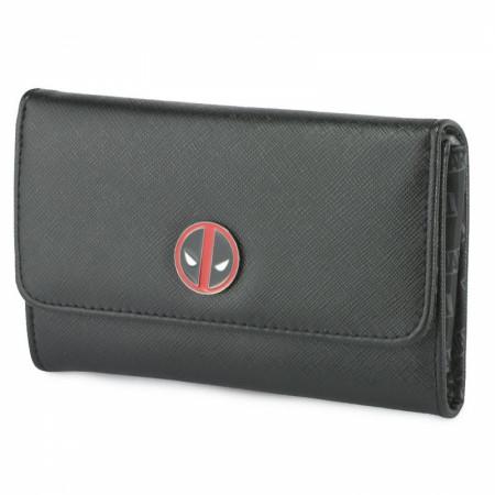 Deadpool Symbol Metal Emblem Fold Over Saffiano Wallet