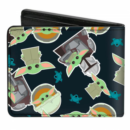The Mandalorian The Child Grogu and Frogs Vegan Leather Wallet