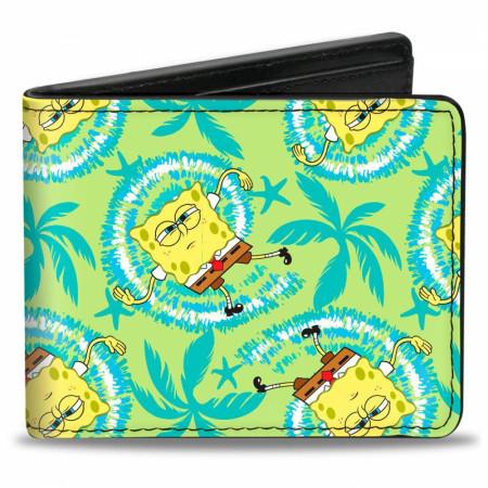 SpongeBob SquarePants Wavy Noodle Arm Pose Tropical Tie Dye Bi-Fold Wallet