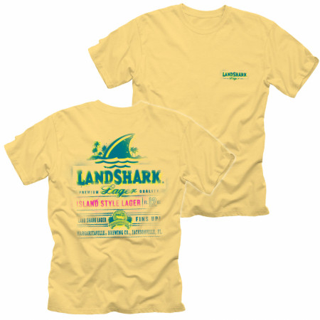 Landshark Lager Spray Label Front and Back Print T-shirt