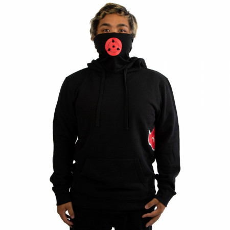 Naruto Symbol and Clouds Hoodie with Built-in Face Mask Gaiter