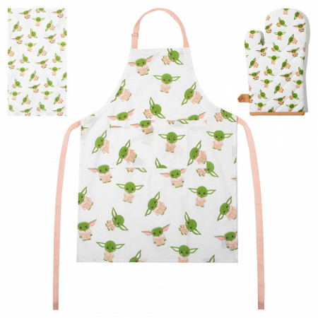 Star Wars Mandalorian Grogu All-Over Print Apron, Oven Mitt and Towel Set